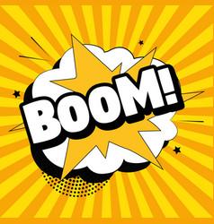 Comic zoom inscription boom on a colored vector