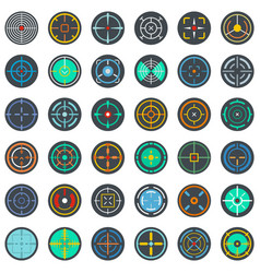 crosshair target scope sight icons set flat style vector image