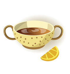 Cup of lemon tea with polka-dot pattern and two vector