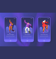 dancing retro characters landing page set vector image