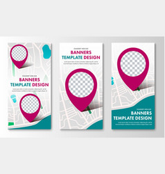 design of vertical web banners with map and vector image