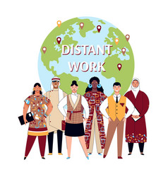 Distant work poster - diverse international vector