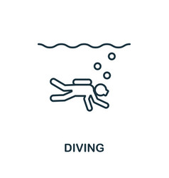 diving outline icon thin line concept element vector image