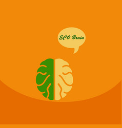 eco brain with cloud on ecology style with bashers vector image