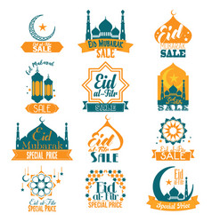 Eid al-fitr eid mubarak sale signs vector