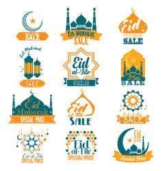 Eid al-fitr mubarak sale signs vector