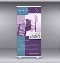 Elegant pruple standee banner roll up design vector