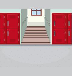 Empty school hallway background vector