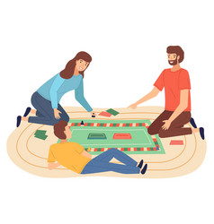 Family playing board game flat vector