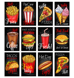 Fast food menu chalkboard poster set vector