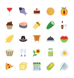 Food and gifts flat icons pack vector