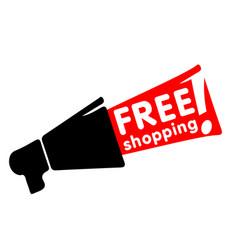 free shopping black megaphone background im vector image