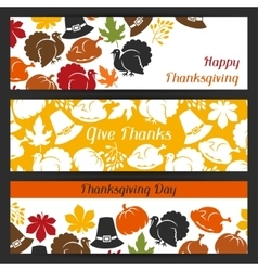 Happy thanksgiving day banners design with holiday vector