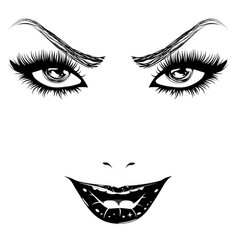 happy woman face in black and white vector image