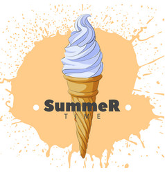 Ice cream in a horn on a light background vector