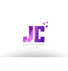 Jc j c pink alphabet letter logo combination with vector