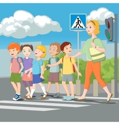 Kids crossing road with teacher vector