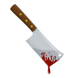 kitchen butcher chopper with blood symbol icon vector image