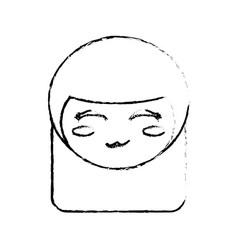 Kokeshi doll sketch face vector