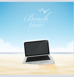 laptop computer in the beach sand vector image