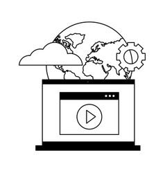 Laptop video world setting cloud computing vector