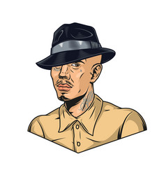 latino man with tattoos in fedora hat vector image