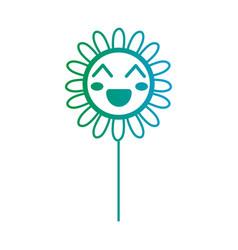 line kawaii cute happy flower vector image