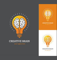 Logo with linear brain icon inside a light bulb vector