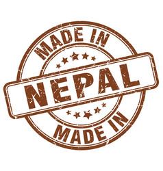 Made in nepal brown grunge round stamp vector