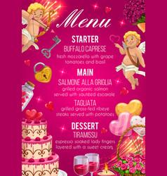 Menu on wedding day starter main and desserts vector