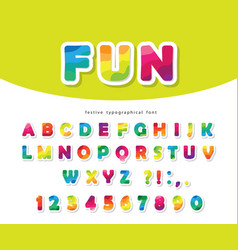 modern colorful font bright paper cutout abc vector image