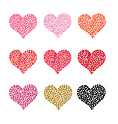 mosaic heart collection of romantic design vector image