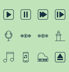 Multimedia icons set collection of mike extract vector