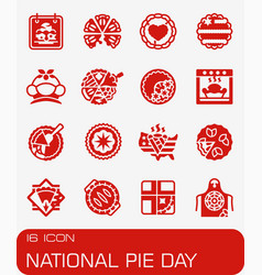 National pie day icon set vector