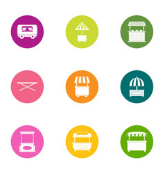 Open shop icons set flat style vector