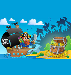 Pirate theme with treasure chest 2 vector