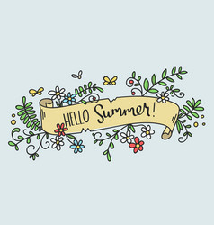 Pretty hand-drawn floral banner -hello summer vector