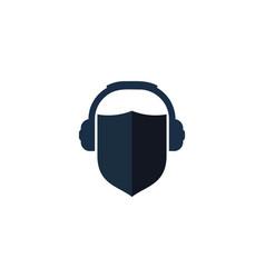 Protection podcast logo icon design vector