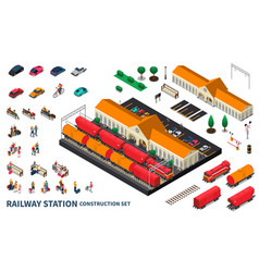 Railway station construction set vector