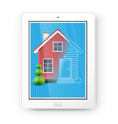 realistic house with a blueprint on a tablet vector image