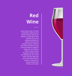 Red wine advertisement poster wineglass half view vector