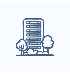 Residential building with trees sketch icon vector