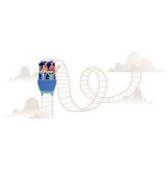 Roller coaster with adult company or team on vector