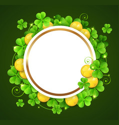 round banner with clover leaves vector image