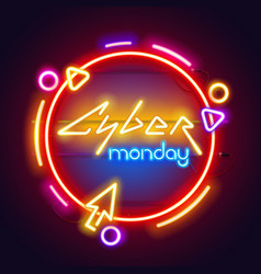 round colorful neon cyber monday sign vector image