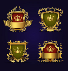 Royal heraldic emblems in victorian style vector