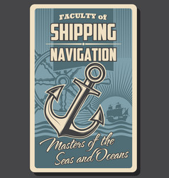 sea ship helm and anchor nautical navigation vector image