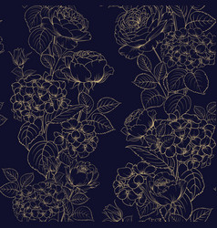 Seamless pattern of black and white style flowers vector