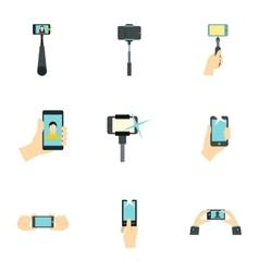 Selfie icons set flat style vector