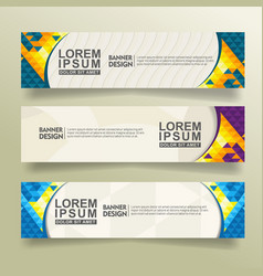 Set abstract banner template design with triangle vector